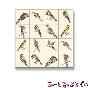 【スペイン製】 ドールハウス用 アクセントタイルシート 16羽の鳥 53x53mm WM34881