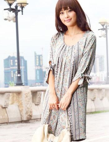 授乳服マタニティウェア リボン付き5分袖 フラワープリントサテン授乳ワンピース ko2008