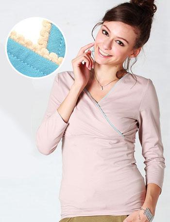 授乳服マタニティウェア マカロンカラーがかわいいおしゃれ授乳インナー パッド付き kt3014 肌着/トップス