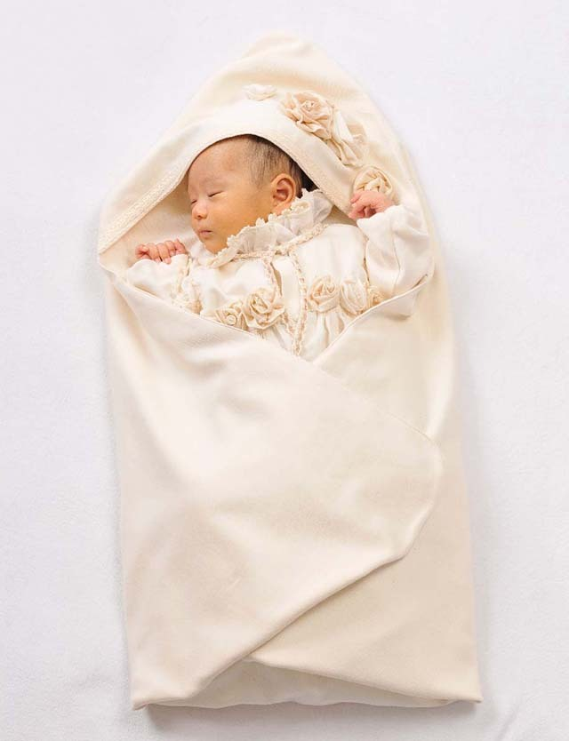 Amorosa mamma オーガニックコットン ローズのアフガン ac027 赤ちゃん/ベビー/おくるみ/フードつき 【日本製】