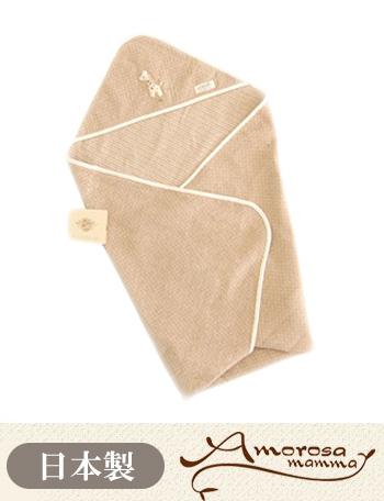 Amorosa mamma 天使の糸 オーガニックコットン ドットボーダーのアフガン きりん ag181 赤ちゃん/ベビー/おくるみ 【日本製】