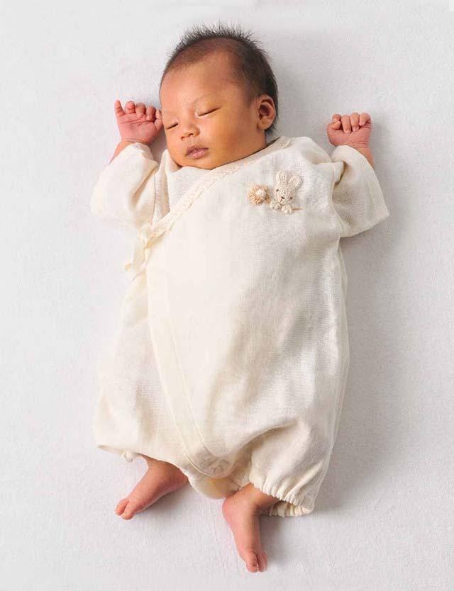 Amorosa mamma 天使の糸 オーガニックコットン ガーゼグレコ 70cm うさぎ ah046 ベビー服 【日本製】