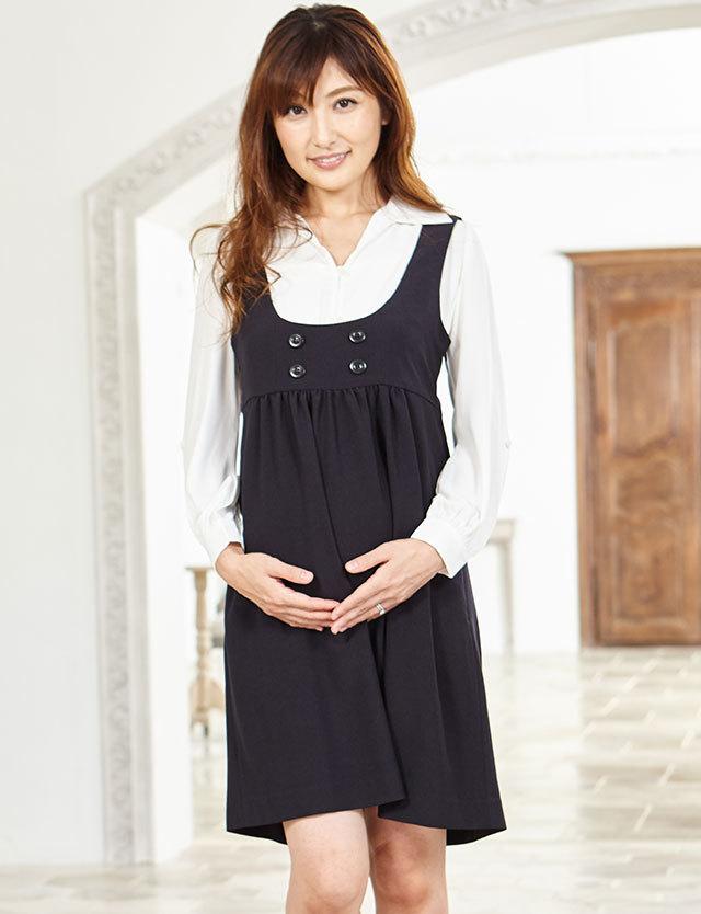 【SALE~3/2まで】オフィスマタニティジャンパーワンピ bo6103 マタニティウェア/授乳服