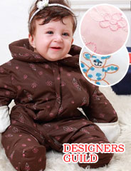 デザイナーズ ギルド ダウン90%&オーガニックコットン素材 刺繍入りカバーオール dg2002 赤ちゃん/ベビー/ジャンプスーツ/防寒着