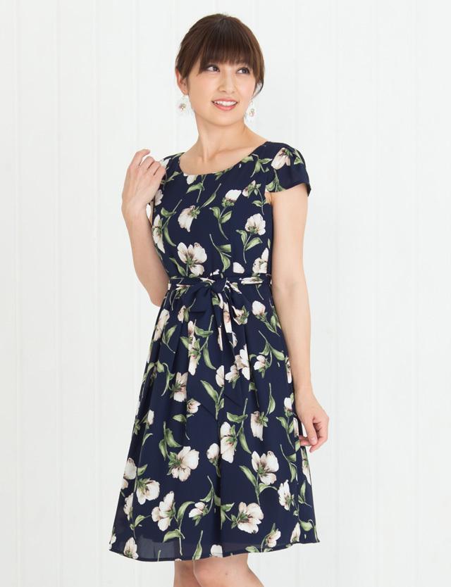 【SUMMER SALE~6/8】授乳服マタニティウェア ストンと1枚で大人可愛い プリントシフォン授乳ワンピース ko5075