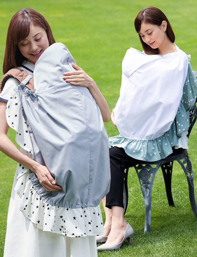 赤ちゃんを真夏の日差しから守る UVカット率99.9%!3WAY マルチケープ kp6033 授乳ケープ/ナーシングケープ/ベビーカバー/日焼けガード/抱っこカバー/大判サイズ/マルチカバー/ベビーカバー