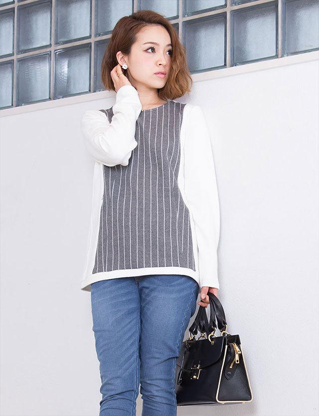 【SALE~3/30まで】授乳服マタニティウェア ピンストライプ切替プルオーバー kt5024