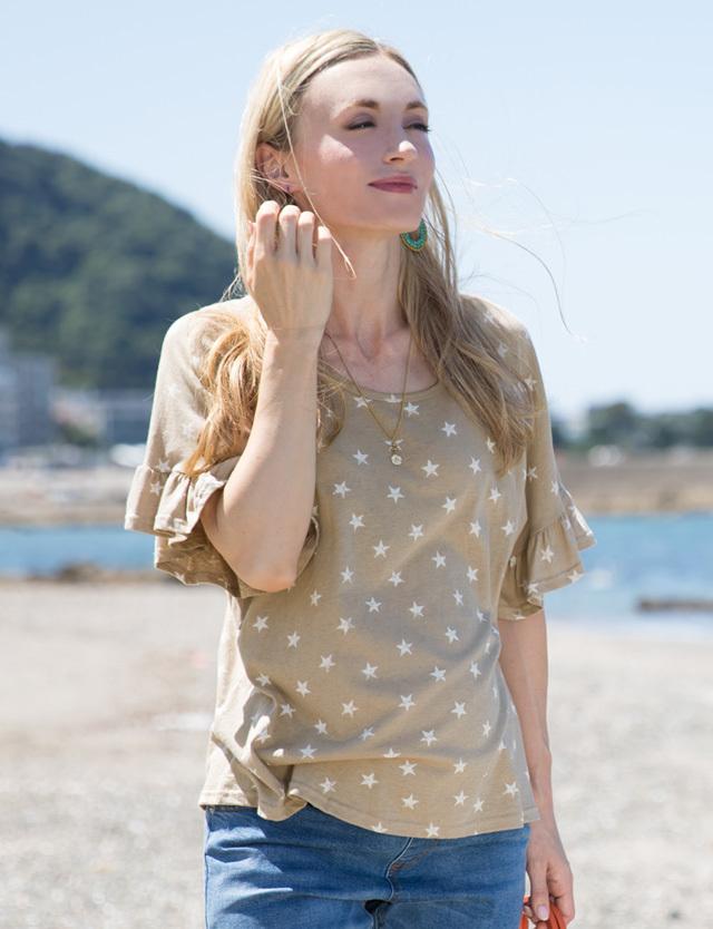 【SUMMER SALE~6/8】スタープリント袖口フリルプルオーバー kt6051 授乳服マタニティウェア