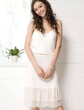 授乳服マタニティウェア 裾シフォン重ね着インナーキャミチュニック(クラリス) ma8049  授乳口付