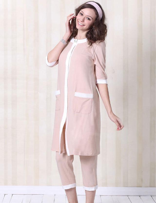【TIME SALE~11/2】マタニティ授乳服 フロントポケット付きシンプルバイカラーナイティ mn0026 【授乳機能付き】