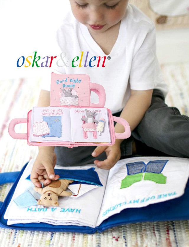 北欧スウェーデン Oskar&Ellen ふわふわ布絵本 【グッドナイトブック】oe102 布えほん/英語/知育玩具/英語教材/布おもちゃ