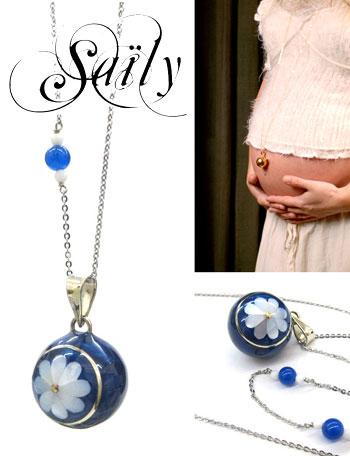 Saily マタニティ アクセサリー ボラス メロディボール ネックレス マルグリット ブルー sa3600dxb5 妊婦さんへのプレゼントに!胎教にもよい美しい鈴音