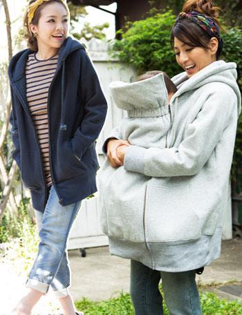 【送料無料~6/8】フワフワの裏起毛 ダッカー付き 厚手ロングパーカー sj4107