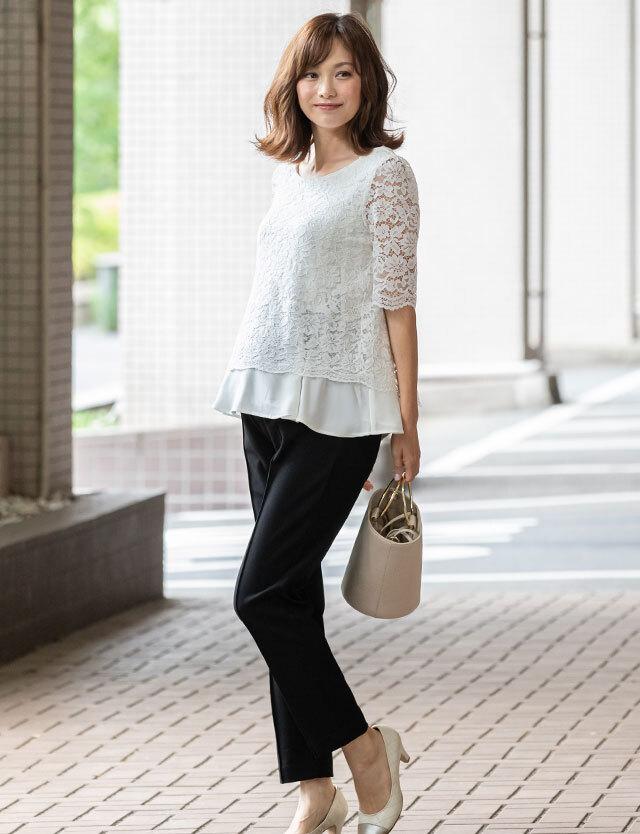 【送料無料~5/25】レーシーレイヤード×テーパード セットアップ sj6048 授乳服マタニティウェアフォーマル
