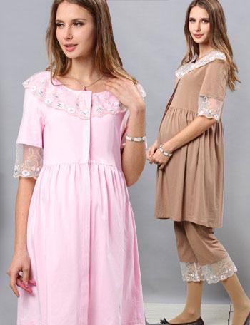 授乳服 アンティークな幅広レースが華やか!チュールレースカラーナイティ sn3020 マタニティパジャマ