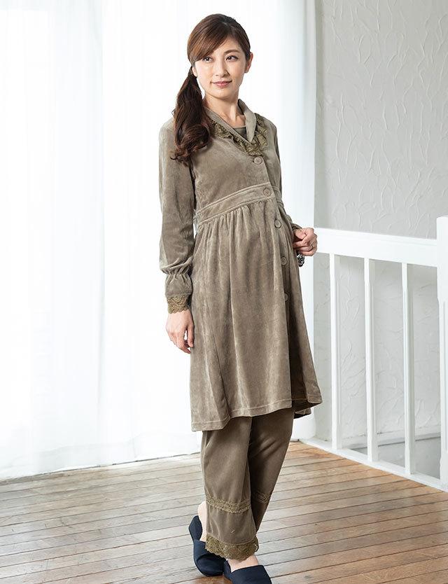 贅沢なコットンベロア素材 ショールカラー授乳ナイティ 3点セット sn3089 授乳服マタニティウェア/産院や診察におすすめ