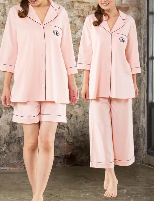 ライン配色ナイティ 半袖 4点セット sn6122 パジャマ