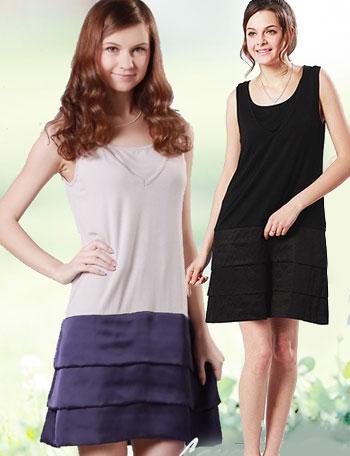 授乳服マタニティウェア 裾サテンノースリーブ授乳ワンピース(シルヴィ) so0116 インナーワンピース