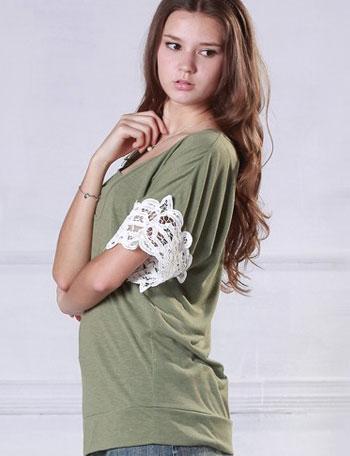 授乳服 バテンレース付き授乳チュニック(半袖) so1040・st1040 トップス/カットソー