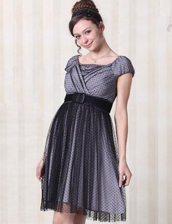 授乳服マタニティウェア ドットチュールフォーマル授乳ドレス(マノン)半袖 so1304 結婚式/ワンピース