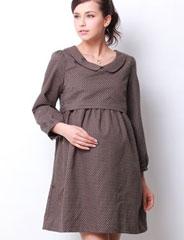 授乳服マタニティ コットンドットジャガード丸襟ミニワンピース(ガレット) so2039 長袖