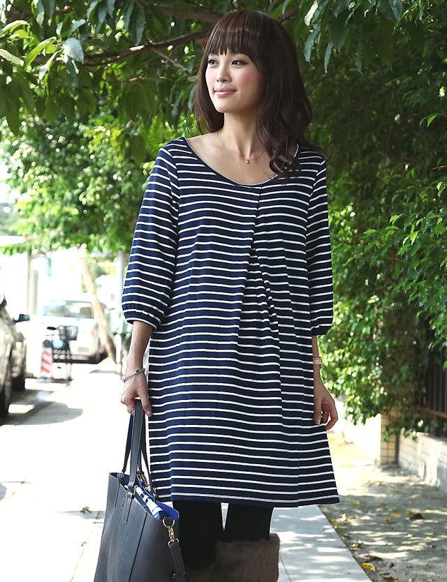 【TIME SALE~11/2】授乳服マタニティウェア バックリボン綿ポンチボーダーチュニック so2047 ワンピース/トップス