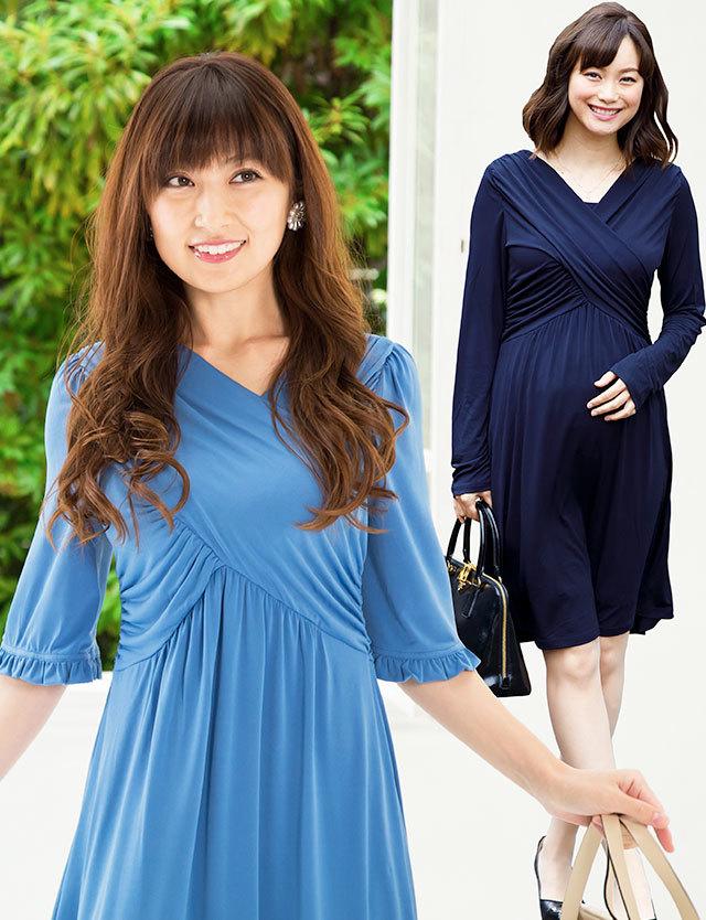 クロスラインシルエット ギャザーワンピース 【アリアンス】 so2077 授乳服マタニティウェア