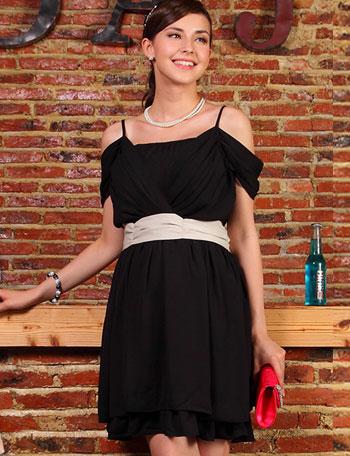 授乳服マタニティウェアフォーマル 裾フリル袖2WAY配色授乳ワンピース サマンサ so2158 ドレス/結婚式/七五三