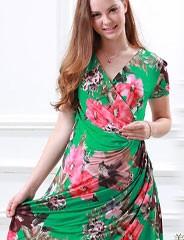 授乳服マタニティ フラワープリント カシュクールドレープ授乳ワンピース so2202 半袖/マタニティウェア/花柄