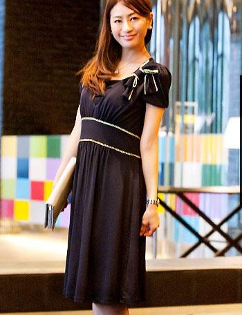 授乳服マタニティウェアフォーマル 配色リボン授乳ワンピース so3006 サファイア