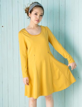 【SALE~3/2】授乳服マタニティウェア シンプル フレアポンチ 授乳ワンピース so4104