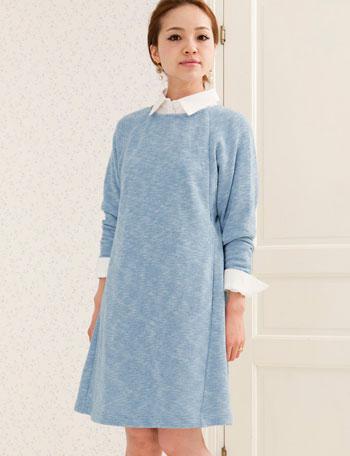 【TIME SALE~11/2】【在庫限り OUTLET】授乳服マタニティウェア メランジスウェットドルマンワンピース so5011