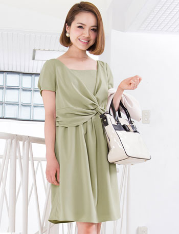 【SALE~2/23まで】授乳服マタニティウェア ツイストドレープワンピース so5021