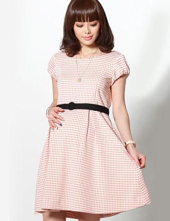 授乳服マタニティウェア ギンガムチェックジャガード ベルト付き 授乳ワンピース so5106