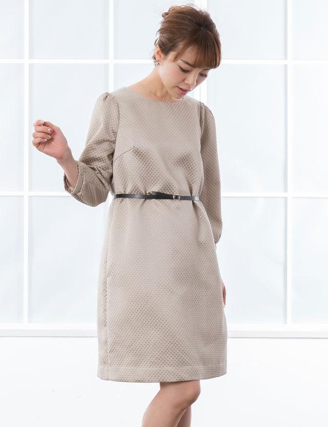 【SALE~2/23まで】ジャガードAラインワンピース レザーベルト付き so6009 ママドレス/オフィス/授乳服/マタニティウェア