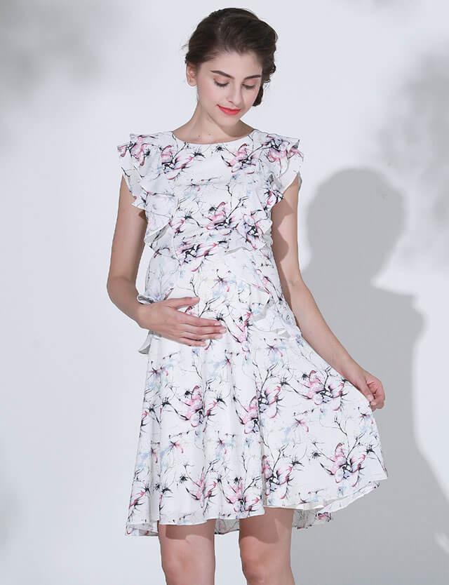 プリントフリルワンピース so7003 授乳服マタニティウェア