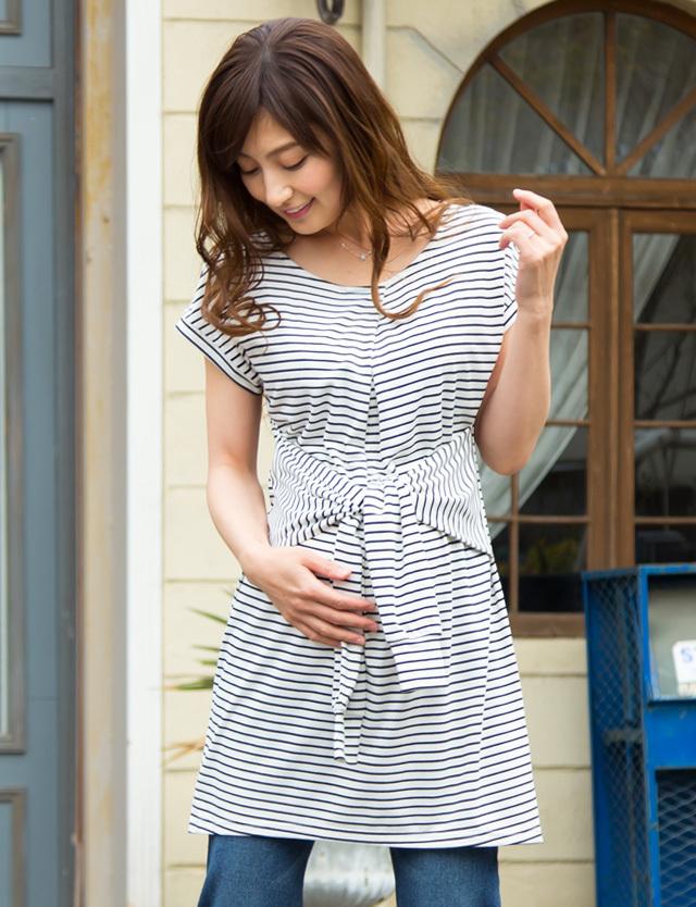 腰巻デザインチュニック 授乳服マタニティウェア so7012 ワンピース/トップス