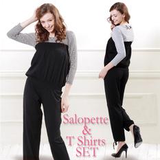 授乳服 ベアトップサロペット&授乳Tシャツ(2点セット) sp0258 オールインワン/オーバーオール