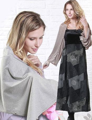 授乳服マタニティウェア 杢入りカラー テンセル3WAY 授乳ストール sp1151 授乳の目隠しに/ボタン付き