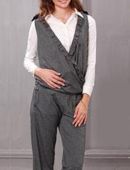 授乳服マタニティ ポンチ素材肩リボンカシュクール ミニフリル授乳サロペット sp1272