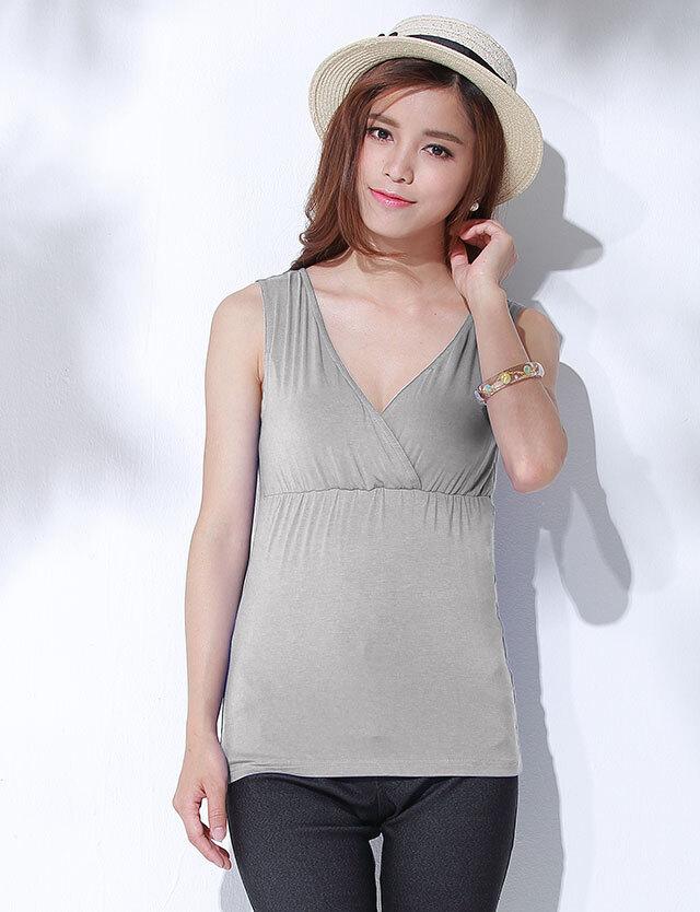 【50%OFF~3/2】授乳服マタニティウェア ソフトカップ付き 授乳タンクトップ st0265  お肌に優しい竹繊維