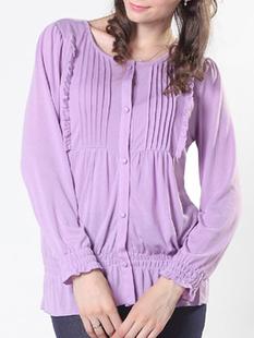 授乳服 タックフリル授乳機能付きカットソーブラウス st0301