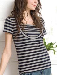 授乳服 クルーネック ボーダー授乳Tシャツ(ケイト) st1131 トップス/半袖