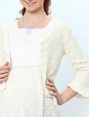 授乳服マタニティフォーマル チュールレース裾フリルリバーシブルカーディガン st1172