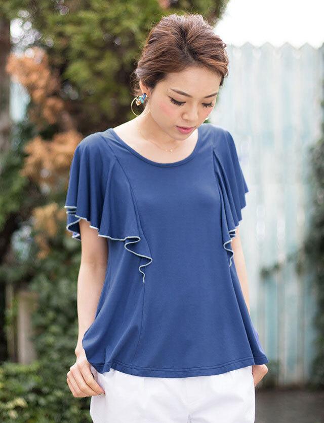 授乳服マタニティウェア フリルスリーブ 授乳トップス st4087 Tシャツ感覚なきれいスタイル