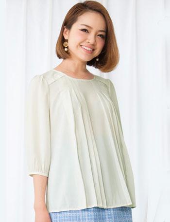 授乳服マタニティウェア プリーツデザイン Aライン オーバーブラウス 授乳機能付き st5048