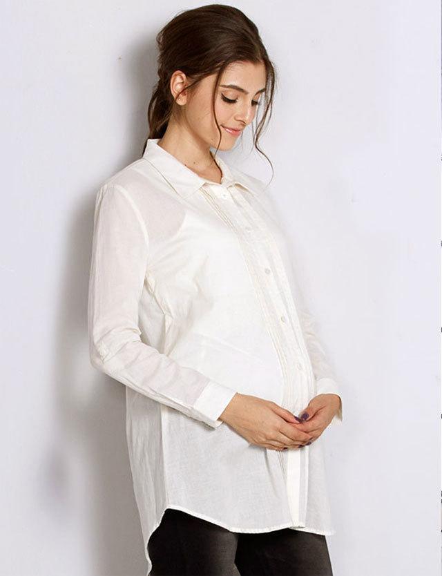【SALE~3/30まで】オーガニックコットン100% ピンタックシャツチュニック 竹繊維 授乳タンクトップセット st5126