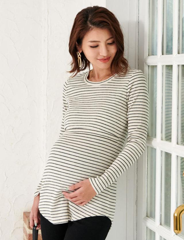 【SALE~1/25】【BASICまとめ買い】しっかりコットンリブ素材 シンプル授乳服トップス st5142