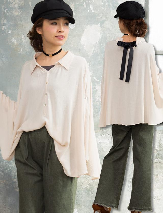 【SUMMER SALE~6/8】授乳ケープにもなる!バックリボンポンチョ st6060 授乳服/マタニティウェア/授乳ケープ