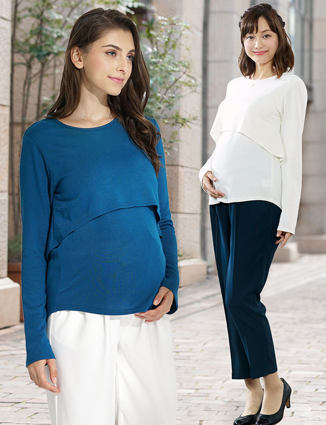 【SALE~5/10まで】【BASICまとめ買い】授乳服マタニティ レイヤード シンプル授乳ロングTEE st7007